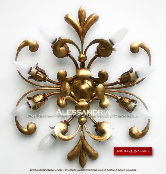 Alessandria, Plafoniera in ferro battuto, oro foglia con patina, a 8 luci.