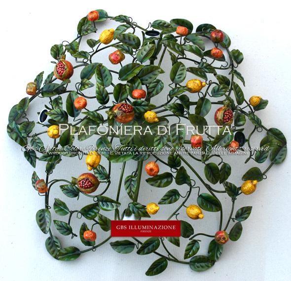 Plafoniera Frutta, collezione Country. Quattro punti luce per la cucina