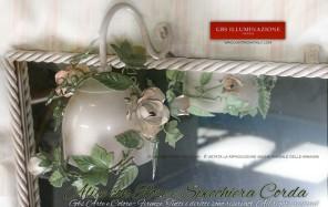 Illuminazione per il Bagno, Specchio per bagno o camera,l'applique Alice è in posizione centrale e lo specchio è con cornince in corda.