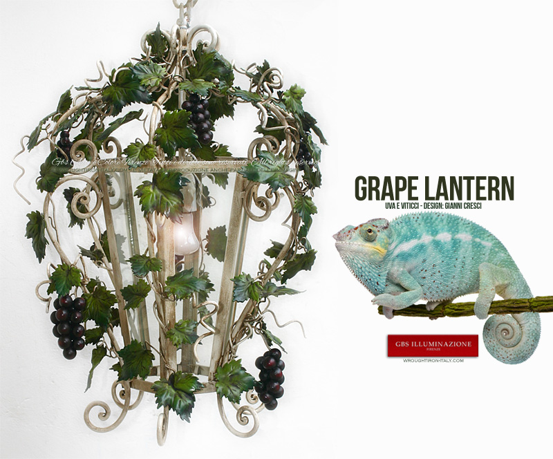 Grapes and Tendrils hexagonal wrought iron lantern. Country kitchens