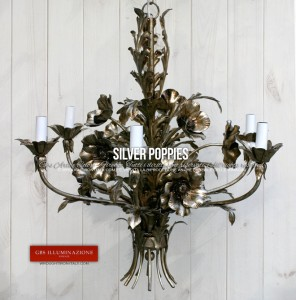Chandelier with Silver Leaf Poppies