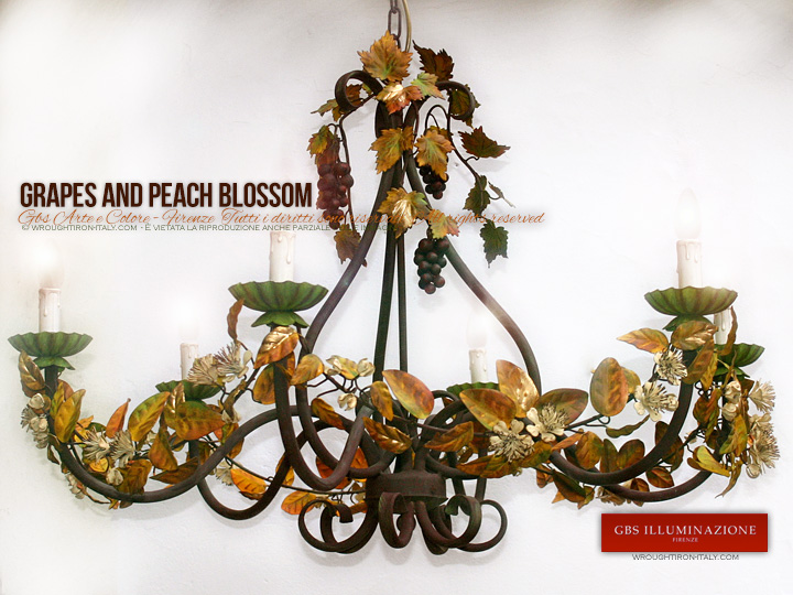 Wrought iron Chandelier. Grapes and Peach Blossom, 6-Light Chandelier. Made in Italy. Florence