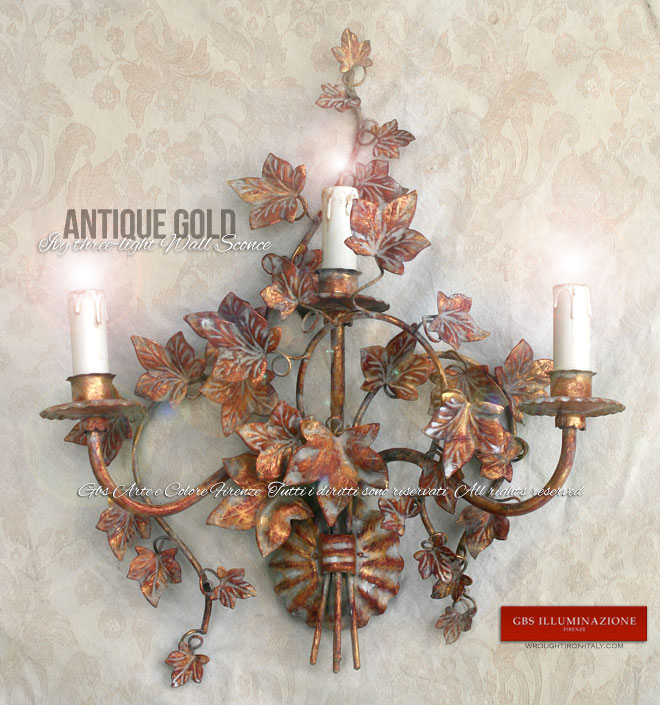 Ivy three-light Wall Sconce in Antique Gold