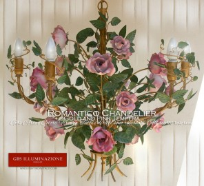 Romantic Gold and Pink Tempera Wrought Iron Chandelier. With Roses.