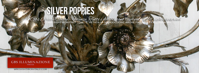Poppy detail: a silver patina finish chandelier, five or six lights, silver leaf, in hand-decorated wrought iron. Silver Poppies 5-Light Chandelier