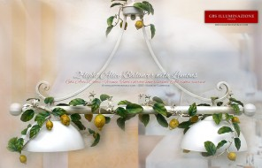 Wrought iron Chandelier with 2 Lights. Lemons, Country collection. Country Kitchen. Made in Italy