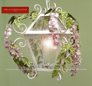 Lantern with Pink Wisteria - GBS FIRENZE - MADE IN ITALY