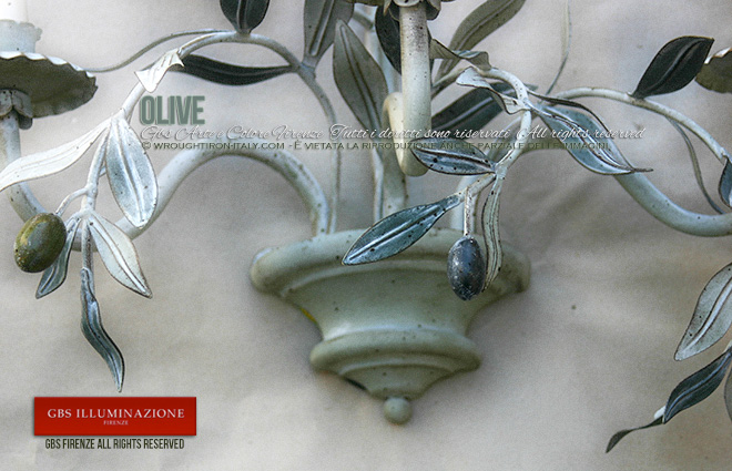 Olive, Applique in ferro battuto. Per la cucina in stile country e rustica, per la veranda, il patio, enoteca.