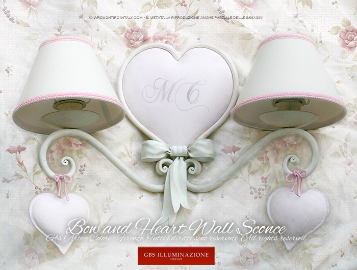 Romantic Bedroom Wall Sconces : Bow and Heart Wall Sconce Romantic bedroom GBS Illuminazione Ferro Battuto Wrought Iron ...