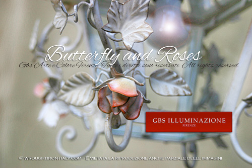 Butterflies and roses, wrought iron lantern decorated by hand. Very high hand-crafted quality. Designed and produced in Florence.