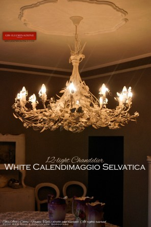 Calendimaggio Selvatica 12-light chandelier in hand-decorated wrought iron.