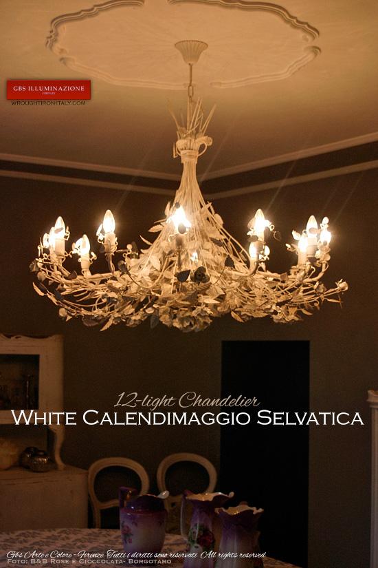 Calendimaggio Selvatica 12-light chandelier in hand-decorated wrought iron.