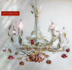 Calendimaggio Selvatica 5-light Chandelier in white wrought iron with pale pink and antique pink roses, with an aged pink and white patina tempera finish.