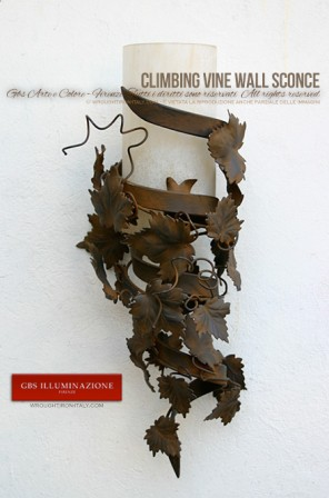 Candlestick with Climbing Vine Wall Sconce with a rust-effect tempera