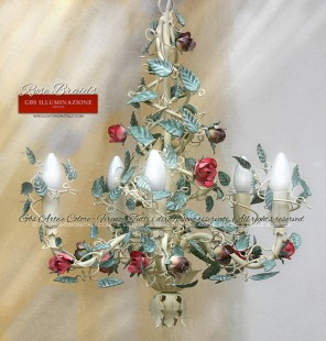 Wrought iron chandelier, small roses, ivory white tempera, green mint leaves, amaranth pink, pastel violet. 5 light chandelier