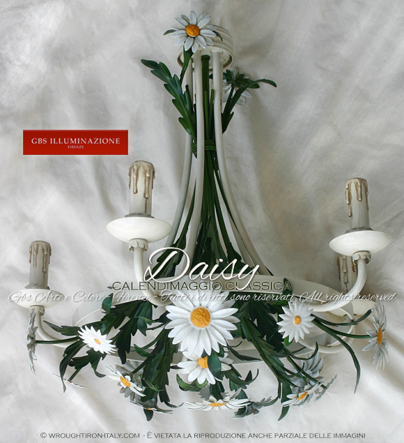 Calendimaggio with white daisies, enamel coated 5 light white chandelier. Wrought iron decorated by hand.