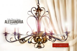 Lampadario Alessandria 8 Luci - Ferro Battuto, nicchie forgiate. GBS FIRENZE. MADE IN ITALY
