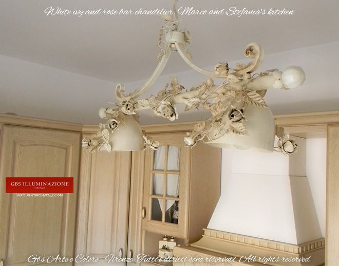 White ivy and rose bar wrought iron chandelier