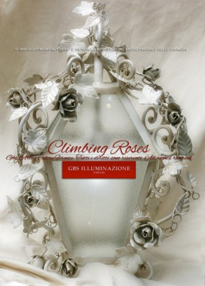 White lantern with climbing roses