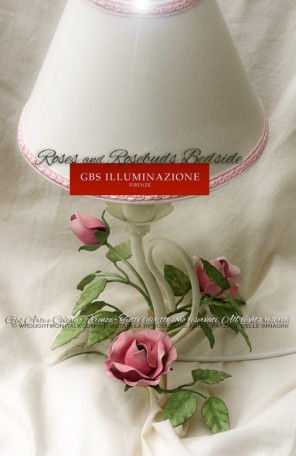 Romantic wrought iron Roses and rosebuds bedside. Made in Florence. GBS