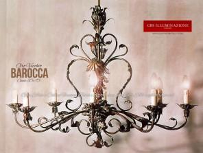 Lampadario con foglie d'Acanto, Oro foglia. Colleziona Classica. Barocca.