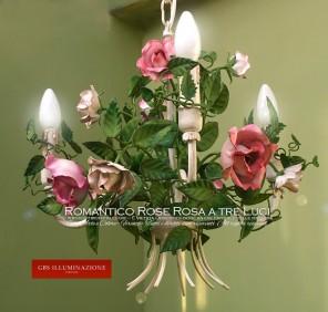 Piccolo Lampadario Romantico a 3 luci, rose rosa. Per la cameretta o la camera da letto.