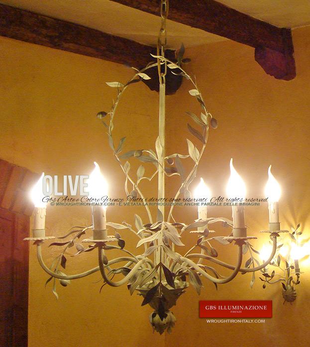 Olive lampadario a 6 luci in tempera gbs illuminazione for Lampadario arredamento