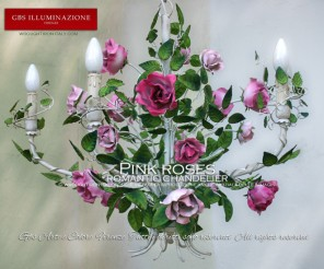Pink roses, wrought iron chandelier by GBS, Romantic collection. White gloss chandelier, roses with shades of pink, matt finish.