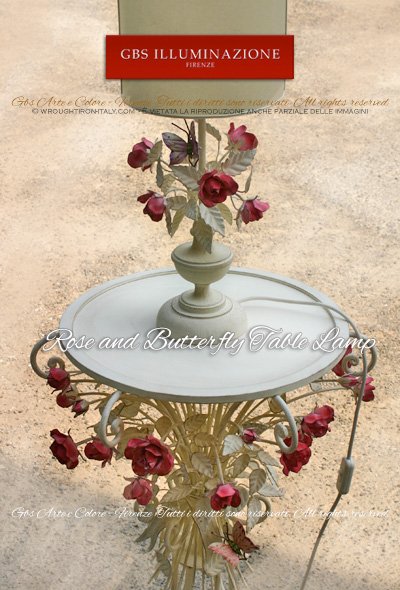 Rose and butterfly bedside table lamp with a lathe-turned base and a white tempera finish