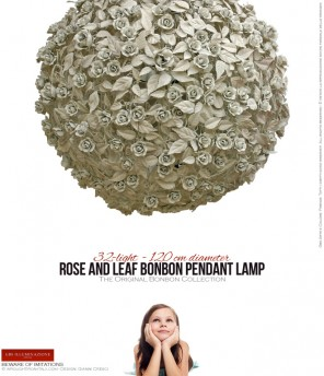 32-light Rose and Leaf Bonbon Pendant Lamp - 120 cm diameter