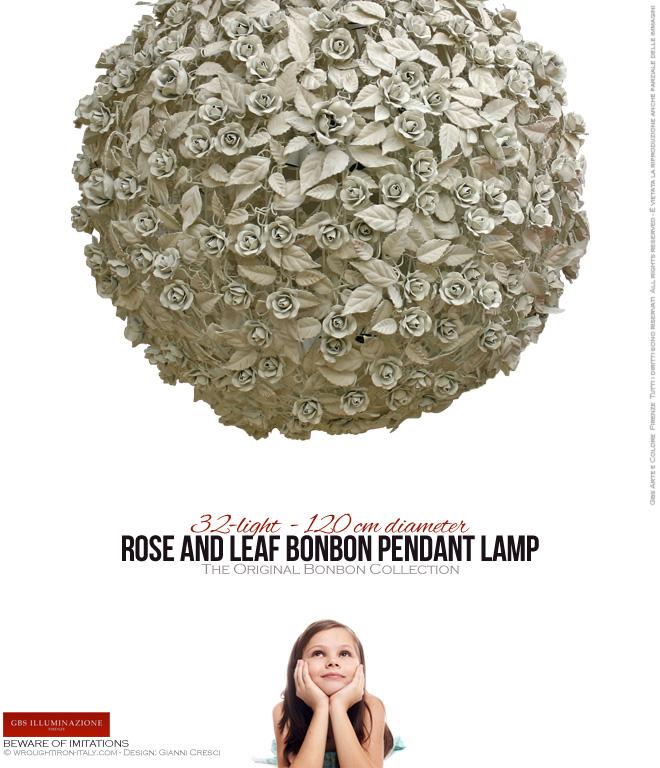 32-light Rose and Leaf Bonbon Pendant Lamp - 120 cm diameter