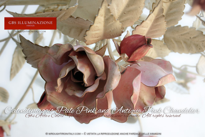 Calendimaggio Rose Pale Pink and Antique Pink Chandelier