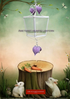 [h]Amethyst hearts lantern - Children's bedroom light purple amethyst, wrought iron lantern with heart pendants in antiqued and aged tempera.