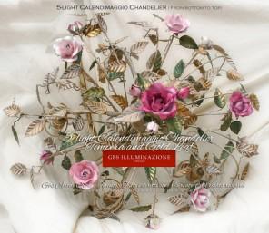 5-light Calendimaggio Roses Chandelier, Tempera and Gold Leaf.