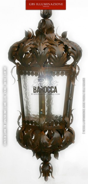 Baroque Lantern, tapered version with Rust finish. Wrought Iron Lanterns. Florence