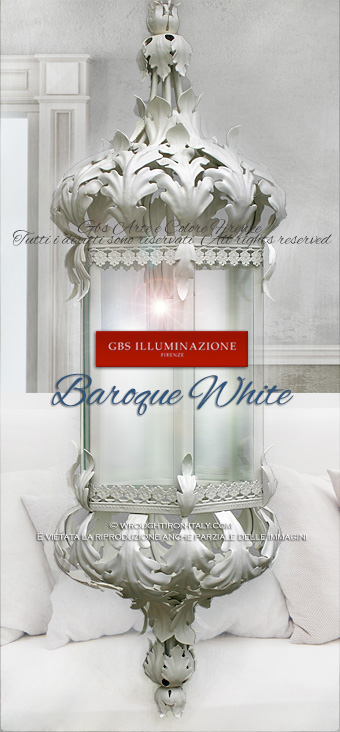 Baroque lantern collection in white tempera, by GBS.