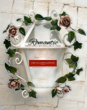 "Romantica ""Half Lantern"" for wall, in aged enamel, hand-decorated wrought iron. Forged scrolls with Roses and Ivy Leaves"