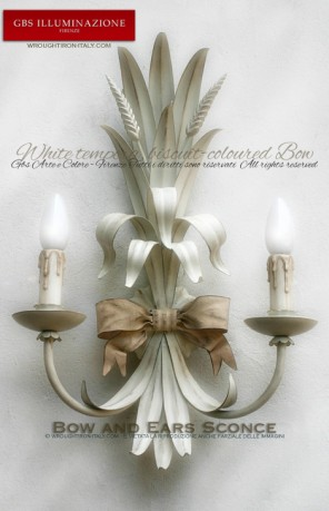 2-light Bow and Ears Sconce, antiqued white in wrought iron by GBS Romantic Country. White tempera