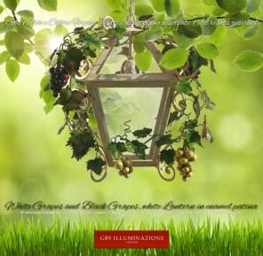 White Grapes and Black Grapes, white Lantern in enamel patina