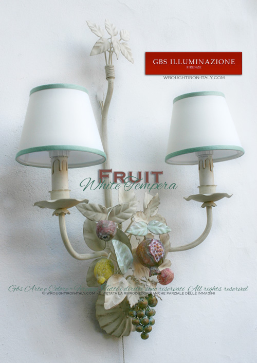2-light Fruit Sconce, in white wrought iron, antiqued tempera.