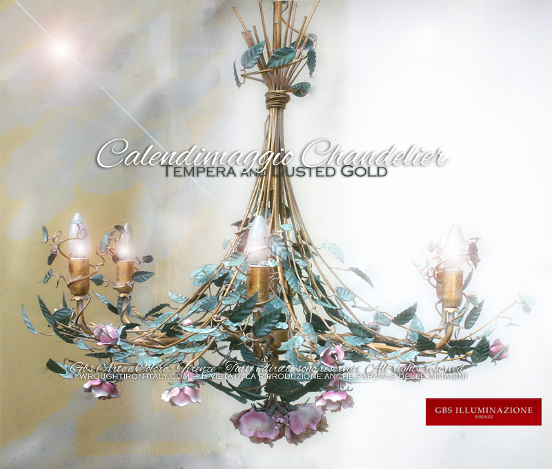 6-light Calendimaggio Chandelier, Dusted Gold and Tempera, Roses and Buds. Hand-decorated flowery wrought iron.