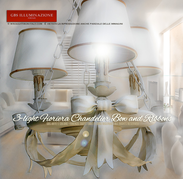 3-light Fioriera Fiocco Chandelier Bow and Ribbons Collection by GBS - Romantic Kitchens