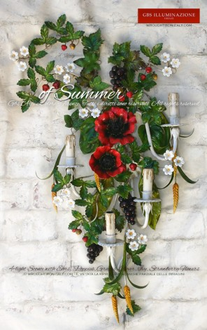 4-light Sconce, wall light with Ears, Poppies, Grapes and Clover