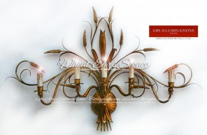 Wheat Ears Sconce. Five lights. Hand-decorated wrought iron. GBS, Made in Italy