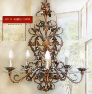 Baroque Chandelier in Old Gold. Made in Italy
