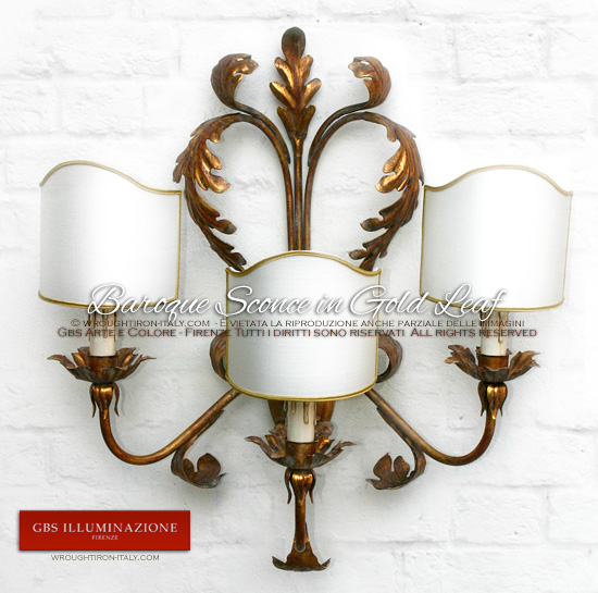 Baroque Sconce in Gold Leaf, acanthus leaves. Hand-decorated wrought iron