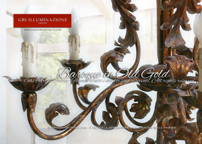 6-light Chandelier in Old Gold. Hande-decorated wrought iron, Gold Leaf. Made in Italy