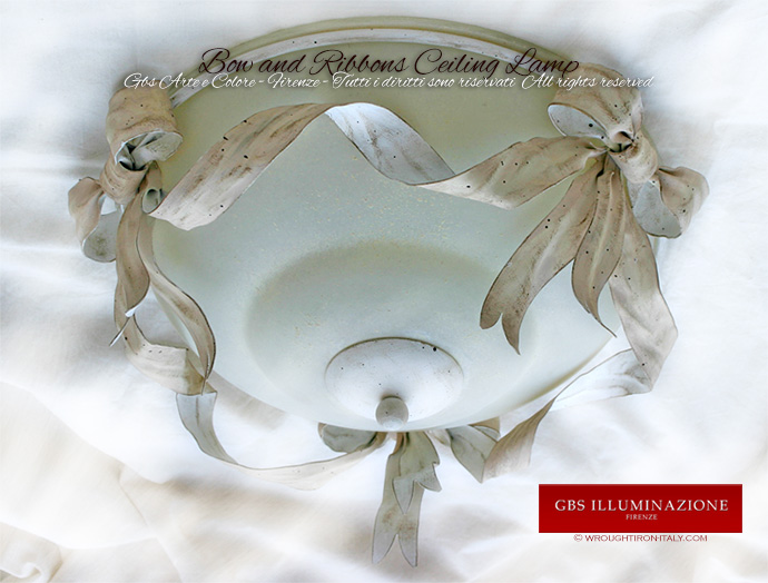 Bow and Ribbons Ceiling Lamp - White Tempera - Made in Italy