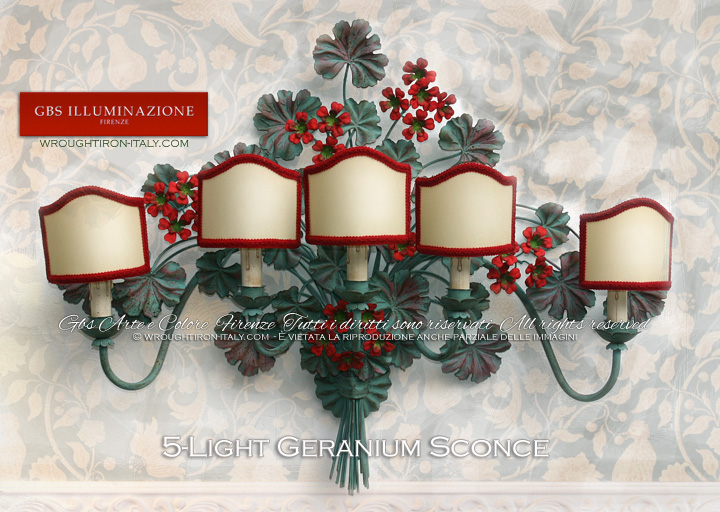Geraniums, wrought iron wall sconce, 5 Lights, aged tempera. Fan lampshades in hand-crafted parchment