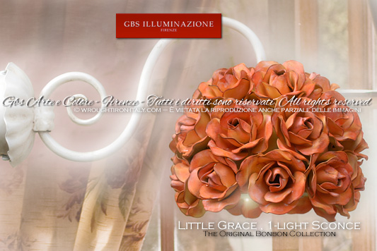 Little Grace , 1-light Sconce. Design: Gianni Cresci Handmade and Hand-decorated wrought iron roses.